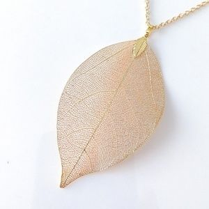 Copper-plated REAL LEAF pendant necklace